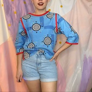 VINTAGE 1980s Funky Abstract Spiral Blue Blouse